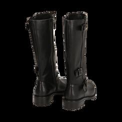 Biker boots con fibbie neri in eco-pelle, tacco 3,5 cm , Primadonna, 14A776168EPNERO036, 003 preview