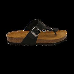 Zeppe nere in eco-pelle con suola in sughero, Scarpe, 136785202EPNERO037, 001 preview