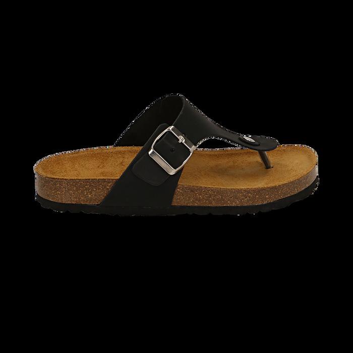 Zeppe nere in eco-pelle con suola in sughero, Scarpe, 136785202EPNERO037