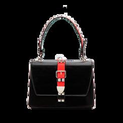 Mini bag nero-rossa in ecopelle con borchie, Saldi Borse, 121909421EPNERSUNI, 001 preview