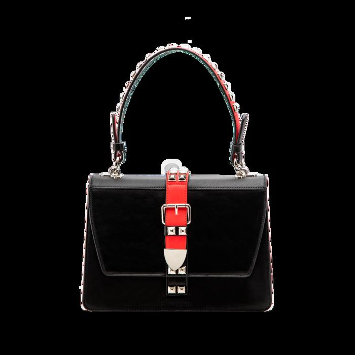 Mini bag nero-rossa in ecopelle con borchie, Saldi Borse, 121909421EPNERSUNI
