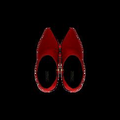 Tronchetti rossi scamosciati, tacco stiletto 10,5 cm, Scarpe, 124895652MFROSS, 004 preview