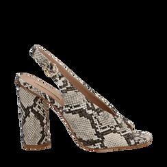 Slingback beige/ghiaccio open-toe in eco-pelle, tacco 10 cm, Primadonna, 132708372PTBEGH036, 001a