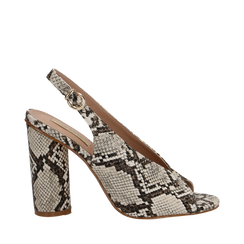 Slingback beige/ghiaccio open-toe in eco-pelle, tacco 10 cm, Scarpe, 132708372PTBEGH035, 001a