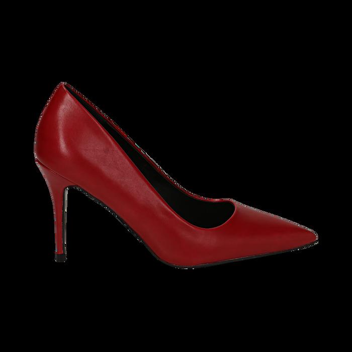 Décolleté a punta rosse in eco-pelle, tacco 9 cm , Scarpe, 142151062EPROSS035