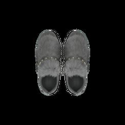 Sneakers grigie slip-on con dettagli faux-fur e borchie, Scarpe, 129300023MFGRIG, 004 preview