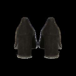 Décolleté nere in vero camoscio, tacco quadrato 5 cm, Scarpe, 12D612710CMNERO, 003 preview