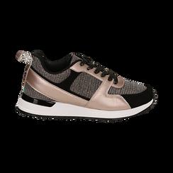 Sneakers oro rosa glitter con dettagli in eco-pelle, Scarpe, 14D814301GLRAOR036, 001 preview
