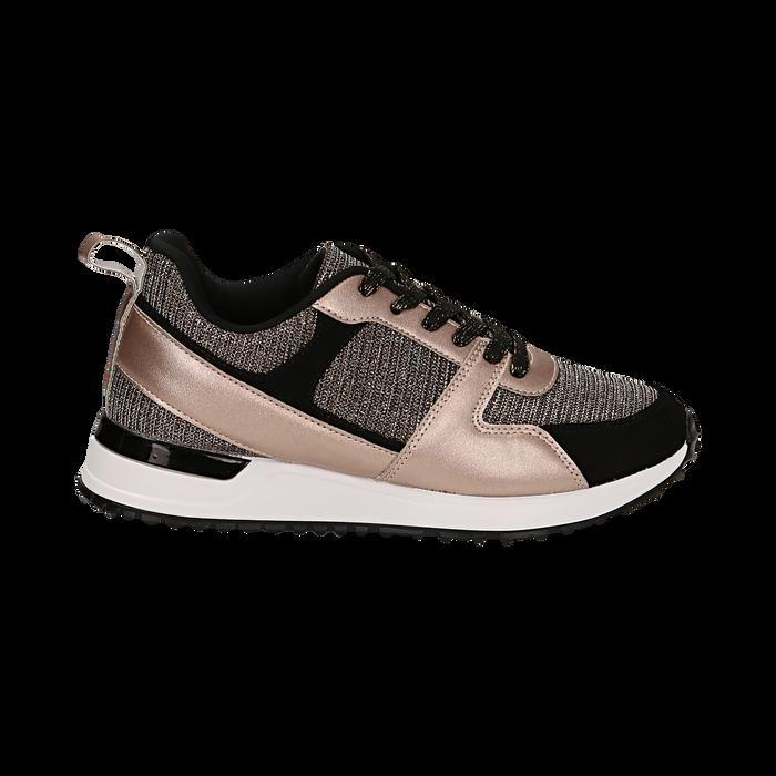 Sneakers oro rosa glitter con dettagli in eco-pelle, Scarpe, 14D814301GLRAOR036