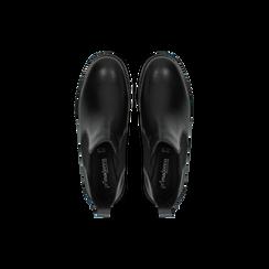 Chelsea Boots neri in vera pelle di vitello, Scarpe, 126905557VINERO, 004 preview