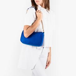Petit sac porté épaule bleu cobalt en microfibre, Primadonna, 155127201MFBLCOUNI, 002a