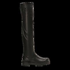 Stivali sopra il ginocchio neri, tacco 3,5 cm, Primadonna, 120681516EPNERO036, 001a