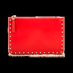 Clutch rossa in ecopelle con profilo mini-borchie, Borse, 123308330EPROSSUNI, 003 preview