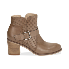 Ankle boots taupe in eco-pelle con gambale traforato, tacco 7 cm, Scarpe, 130682987EPTAUP040, 001 preview