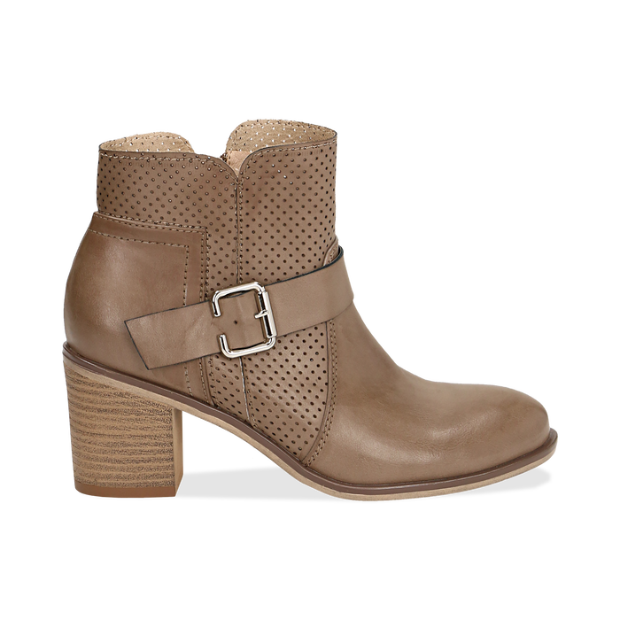 Ankle boots taupe in eco-pelle con gambale traforato, tacco 7 cm, Scarpe, 130682987EPTAUP040