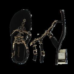Sandali gioiello infradito neri in microfibra, tacco 6 cm, Primadonna, 134986238MFNERO036, 003 preview