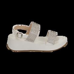 Sandali bianchi in microfibra, zeppa 4,50 cm , Scarpe, 154991102EPBIAN036, 001 preview