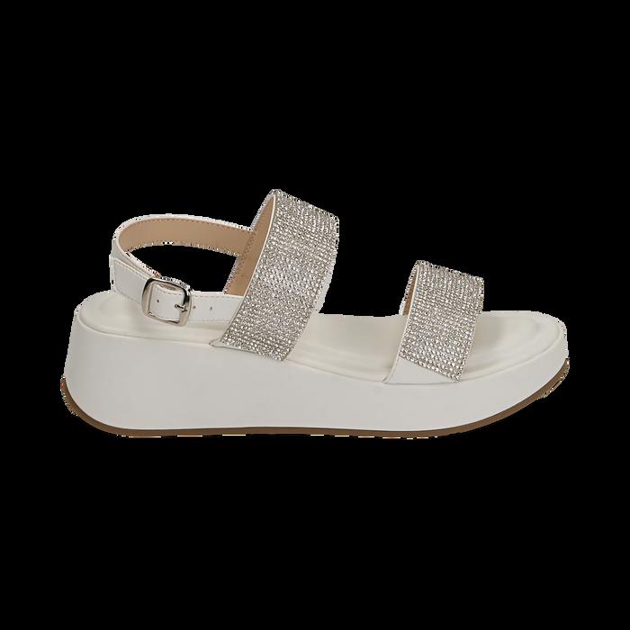 Sandali bianchi in microfibra, zeppa 4,50 cm , Scarpe, 154991102EPBIAN036
