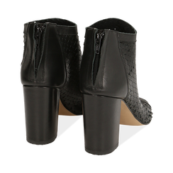 Bottines noires à bout ouvert en cuir de veau, talon de 9 cm, Chaussures, 15A217013VINERO036, 004 preview