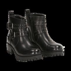 Biker boots con fibbie e borchie neri in eco-pelle, tacco 4,5 cm , Scarpe, 143069629EPNERO036, 002 preview