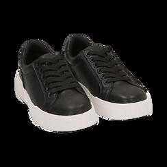 Baskets noir en simili-cuir, Chaussures, 150620171EPNERO037, 002 preview