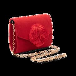 Pochette rossa scamosciata con pon-pon, Saldi Borse, 123369415MFROSSUNI, 003 preview