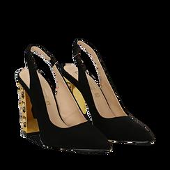 Décolleté Slingback nere in microfibra con cinturino alla caviglia, tacco gioiello 12 cm, Scarpe, 132118672MFNERO035, 002a