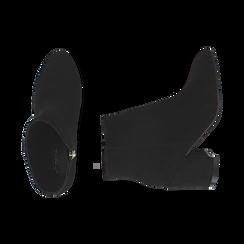 Ankle boots neri in microfibra, tacco 7,5 cm , Stivaletti, 142762715MFNERO035, 003 preview
