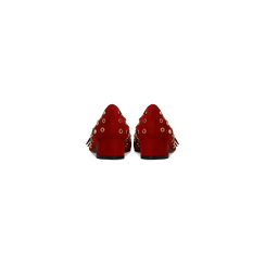 Décolleté rosse a mocassino nere con borchiette, tacco 3 cm, Scarpe, 124952202MFROSS, 003 preview