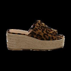 Zeppe platform leopard in eco-pelle, zeppa in corda 7 cm, Saldi, 132708151MFLEOP036, 001 preview