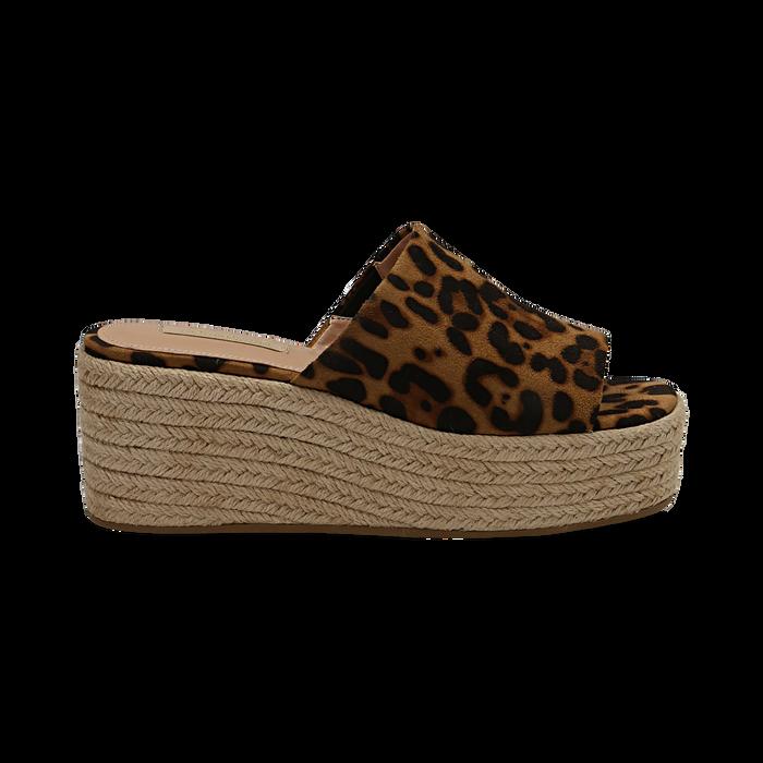 Zeppe platform leopard in eco-pelle, zeppa in corda 7 cm, Saldi, 132708151MFLEOP036
