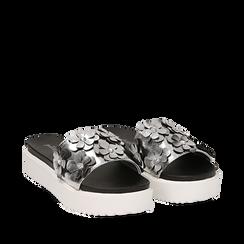 Zeppe argento in laminato con fiori 3D, Primadonna, 112066213LMARGE035, 002a