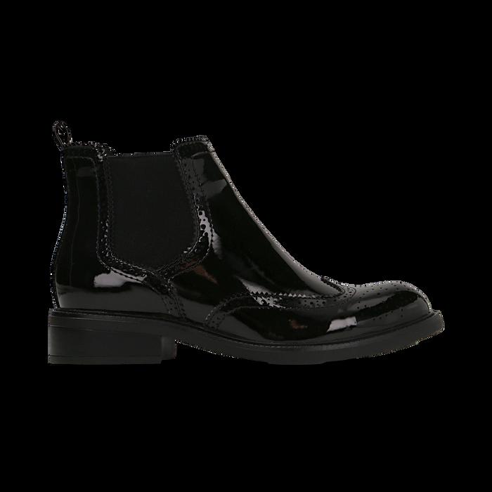 Chelsea Boots neri vernice, lavorazione Duilio, Scarpe, 120618206VENERO040