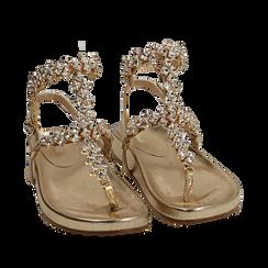 Sandali infradito gioiello oro in eco-pelle laminata, Chaussures, 154951992LMOROG036, 002a