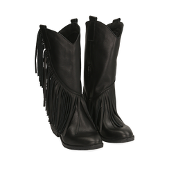 Botas camperas negro en piel de becerro, tacón 4 cm, Primadonna, 168989100VINERO037, 002a