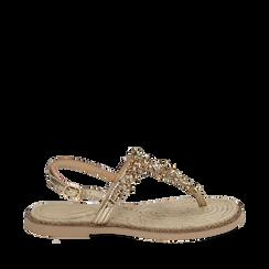 Sandali infradito oro laminati con pietre, Chaussures, 154950331LMOROG036, 001a