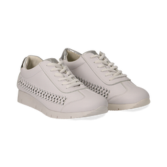 Sneakers bianche in eco-pelle ,