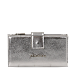 Portafogli argento in eco-pelle laminata, Primadonna, 155122158LMARGEUNI, 001a