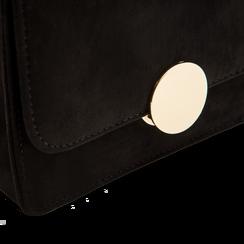 Tracolla nera in microfibra scamosciata con chiusura gold, Saldi, 123308225MFNEROUNI, 004 preview