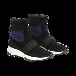 Sneakers nero-blu sock boots con suola in gomma bianca, Primadonna, 124109763TSNEBL036, 002 preview