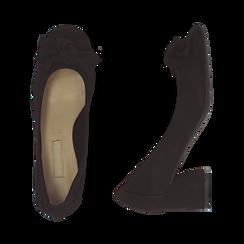 Escarpins noir en microfibre avec noeud, talon 5,50 cm , Chaussures, 152182281MFNERO037, 003 preview