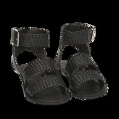 Sandali neri in pelle intrecciata, Zapatos, 156707446PINERO036, 002a