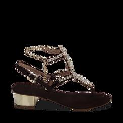 CALZATURA SANDALO MICROFIBRA NERO, Chaussures, 154927101MFNERO035, 001a