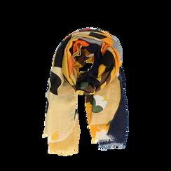 Pashmina gialla in tessuto con stampa Seventies, Abbigliamento, 14B491016TSGIAL3XL, 002a