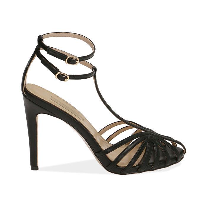 Sandali neri, tacco 10 cm , Primadonna, 172174211EPNERO036
