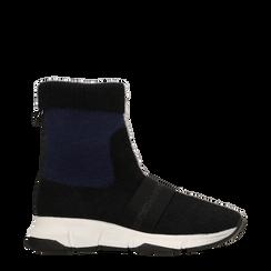 Sneakers nero-blu sock boots con suola in gomma bianca, Scarpe, 124109763TSNEBL, 001a