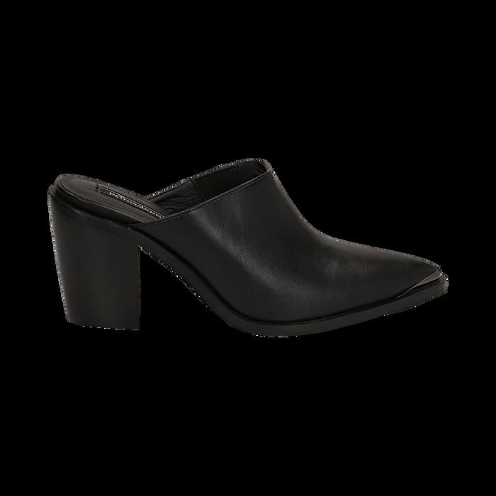 Mules nere in eco-pelle, tacco 8 cm , Scarpe, 142708158EPNERO036