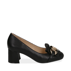 Mocassins noir en simili-cuir avec des franges et une maxi-chaîne, talon de 6 cm, Chaussures, 152186582EPNERO035, 001a