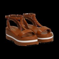 Sandali platform cuoio in eco-pelle, zeppa 5 cm , Primadonna, 132147513EPCUOI036, 002 preview