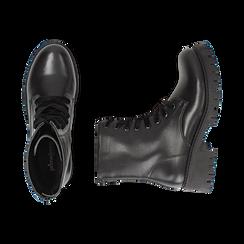 Anfibi neri in eco-pelle, tacco 5 cm , Stivaletti, 140585610EPNERO035, 003 preview